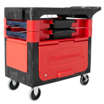 Rubbermaid FG618088 BLA 2 Level Polymer Utility Cart w/ 330 lb Capacity, Flat Ledges