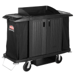 "Rubbermaid FG619100 BLA Housekeeping Cart w/ Cabinet, 60""L x 22""W x 50""H, Black"
