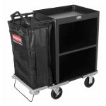 Rubbermaid FG9T6000 BLA Compact Housekeeping Cart - 2-Shelf, 7.3 cu ft Capacity, Black
