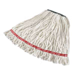 "Rubbermaid FGA21206WH00 Medium Wet Mop Head - 1"" Headband, 4 Ply Cotton/Synthetic Blend, White"