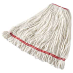 "Rubbermaid FGA21306WH00 Large Wet Mop Head - 1"" Headband, 4 Ply Cotton/Synthetic Blend, White"