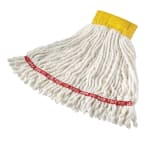"Rubbermaid FGA25106WH00 Small Wet Mop Head - 5"" Headband, 4 Ply Cotton/Synthetic Blend, White"