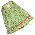 """Rubbermaid FGC11106 GR00 Looped-End Small Wet Mop Head - 1"""" Headband, 4-Ply Cotton/Synthetic, Green"""