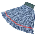 """Rubbermaid FGC25206BL00 Looped-End Medium Mop Head - 5"""" Headband, 4 Ply Cotton/Synthetic, Blue"""