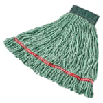 "Rubbermaid FGC25206GR00 Looped-End Medium Mop Head - 5"" Headband, 4 Ply Cotton/Synthetic, Green"
