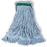 "Rubbermaid FGD21106BL00 Super Stitch Small Mop Head - 1"" Headband, 4-Ply Cotton/Synthetic, Blue"