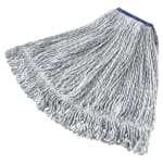 "Rubbermaid FGD51306WH00 Large Finish Mop Head - 1"" Headband, 4-Ply Yarn, White/Blue Stripe"
