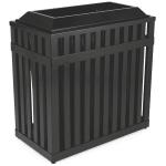 Rubbermaid FGMHR36PLBK 36-gal Outdoor Decorative Trash Can - Metal, Black