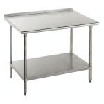 "Advance Tabco FAG-365 60"" 16-ga Work Table w/ Undershelf & 430-Series Stainless Top, 1.5"" Backsplash"