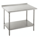 "Advance Tabco FAG-369 108"" 16-ga Work Table w/ Undershelf & 430-Series Stainless Top, 1.5"" Backsplash"
