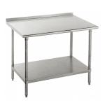 "Advance Tabco FLG-2410 120"" 14-ga Work Table w/ Undershelf & 304-Series Stainless Top, 1.5"" Backsplash"