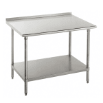 "Advance Tabco FLG-367 84"" 14-ga Work Table w/ Undershelf & 304-Series Stainless Top, 1.5"" Backsplash"