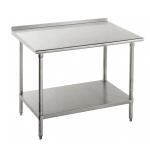 "Advance Tabco FMS-248 96"" 16-ga Work Table w/ Undershelf & 304-Series Stainless Top, 1.5"" Backsplash"