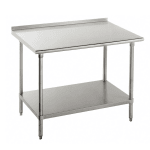 "Advance Tabco FMS-249 108"" 16-ga Work Table w/ Undershelf & 304-Series Stainless Top, 1.5"" Backsplash"