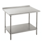 "Advance Tabco FSS-307 84"" 14-ga Work Table w/ Undershelf & 304-Series Stainless Top, 1.5"" Backsplash"