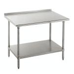 "Advance Tabco FSS-308 96"" 14 ga Work Table w/ Undershelf & 304 Series Stainless Top, 1.5"" Backsplash"