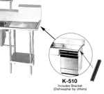 "Advance Tabco K-510 Prepare Sink for Undercounter Dishwasher, 24"" Drainboard Or Larger"