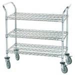 Advance Tabco WUC-1842R 3 Level Chrome Plated Utility Cart w/ 800 lb Capacity, Flat Ledges