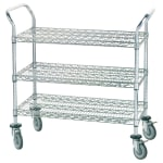 Advance Tabco WUC-2442P 3-Level Chrome Plated Utility Cart w/ 800-lb Capacity, Flat Ledges