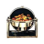 Bon Chef 11001D 8 qt Round Chafer w/Roll-top Lid & Chafing Fuel Heat