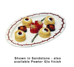 """Bon Chef 2046S WH 22.5"""" Oval Serving Tray, Aluminum/White"""