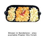 "Bon Chef 2069DS BLK 32"" Shell Handle Divided Platter, Aluminum/Black"