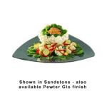 "Bon Chef 9160S BLK 20"" Triangle Serving Plate, Aluminum/Black"