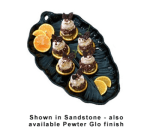 "Bon Chef 9802S BLK Leaf Design Serving Platter, 11 x 19.5"", Aluminum/Black"