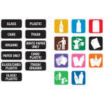 Carlisle 34RECLBL Recycle Label Kit - 11 Color Coded Symbol Labels, 3 Sets Word Labels