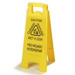 "Carlisle 3690904 Wet Floor Safety Sign - 11x25"" 2-Sided, Multi-Lingual, Polypropylene, Yellow"