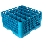 Carlisle RG25-414 Full-Size Dishwasher Glass Rack w/ (25) Compartments & (4) Extenders, Blue