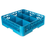 Carlisle RG9-114 Full-Size Dishwasher Glass Rack w/ (9) Compartments & Extender, Blue