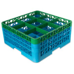 Carlisle RG9-3C413 Full-Size Dishwasher Glass Rack w/ (9) Compartments & (3) Extenders, Blue/Green