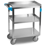 Carlisle UC3031524 3 Level Stainless Utility Cart w/ 300 lb Capacity, Raised Ledges