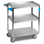 Carlisle UC5031524 3-Level Stainless Utility Cart w/ 500-lb Capacity, Flat Ledges