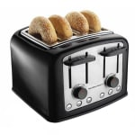 Hamilton Beach 24444 4 Slice Toaster w/ Extra Wide Slots - (3) Functions & Shade Selector Dials, Black/Chrome
