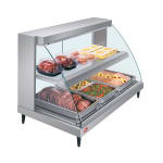 "Hatco GRCD-3PD 45.53"" Self-Service Countertop Heated Display Case w/ Curved Glass - (2) Levels, 120v"
