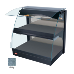 "Hatco GRCMW-1D 26"" Self-Service Countertop Heated Display Case w/ Curved Glass - (2) Levels, Gray, 120v"