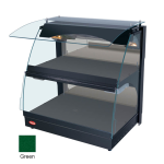 "Hatco GRCMW-1D 26"" Self-Service Countertop Heated Display Case w/ Curved Glass - (2) Levels, Green, 120v"