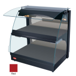 "Hatco GRCMW-1D 26"" Self-Service Countertop Heated Display Case w/ Curved Glass - (2) Levels, Red, 120v"
