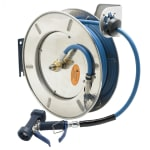 "T&S B-7142-05 Hose Reel, 50 ft, 3/8"" Diameter, Front Water Gun, Stainless Steel"
