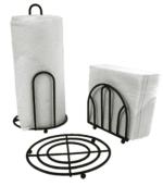 Anchor 13283BLK 3-Piece Accessory Set w/ Napkin Holder, paper Towel Holder & Trivet, Black
