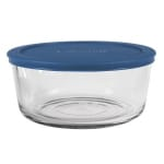 Anchor 85908 7-Cup Round Storage Container w/ Blue Plastic Lid, Glass