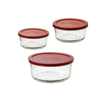 Anchor 91056 Kitchen Storage Set w/ 2-cup, 4-cup & 7-cup Rounds & Red Plastic Lids