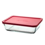 Anchor 91551L11 6 cup Rectangular Kitchen Storage Container w/ Red Plastic Lid