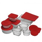 Anchor 92092 16 pc Storage Set w/ (4) Round & (4) Rectangular Containers & (8) Red Lids