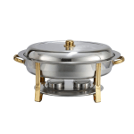 Winco 202 Oval Chafer w/ Lift-off Lid & Chafing Fuel Heat