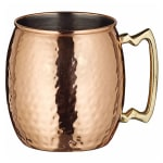 Winco CMM-20H 20 oz Moscow Mule Mug - Hammered, Copper