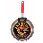 """Winco FPT3-14 14"""" Stainless Steel Frying Pan w/ Solid Silicone Handle"""