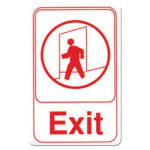 "Winco SGN-681W Exit Sign - 6"" X 9"", White"